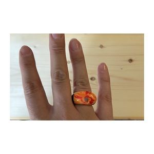Tropical plastic statement ring